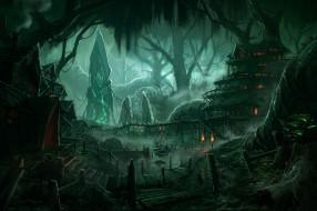 фэнтези, иные миры,  иные времена, мир, иной, лес, обелиск, жилье, поселение, пристань