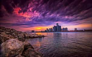 города, детройт , сша, камни, река, город, небоскребы, небо, облака, здания, закат, детройт, usa, detroit