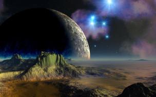 космос, арт, поверхность, планеты
