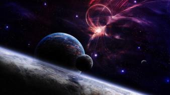 обои для рабочего стола 1920x1080 космос, арт, пространство, звезды, спутники, планеты, аномалия, взрыв, свечение