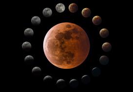 обои для рабочего стола 2048x1427 космос, луна, фазы