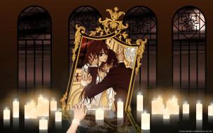 обои для рабочего стола 2560x1600 аниме, vampire knight, yuuki, cross, kuran, kaname, девушка, мужчина, ночь, луна, окно, решетка, свечи, зеркало, cilou, отражение