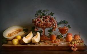обои для рабочего стола 1920x1200 еда, фрукты,  ягоды, осень, натюрморт, с, фруктами, лимоны, виноград