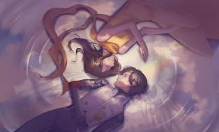аниме, rahxephon, отражение, сон, крылья, пара, девушка, мужчина, небо, kamina, ayato, mishima, reika