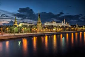 москва, города, москва , россия, ночь, река, набережная