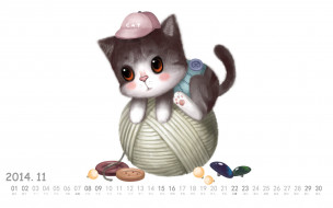 календари, рисованные,  векторная графика, клубок, нитки, пуговицы, кот