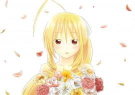 аниме, hayate no gotoku, блондинка, белый, фон, арт, портрет, девушка, лепестки, hayate, no, gotoku