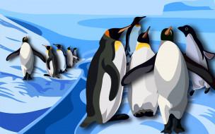 рисованное, животные, пингвины, антарктида