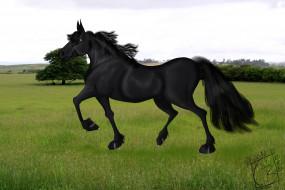 обои для рабочего стола 4752x3168 рисованное, животные,  лошади, лошадь, лес, поле, трава, небо