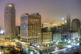 detroit morning, города, детройт , сша, утро, дымка, здания, огни