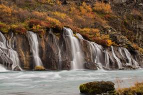 обои для рабочего стола 2048x1365 природа, водопады, осень, водопад, река, скала, горы