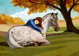 обои для рабочего стола 3508x2480 рисованное, животные,  лошади, лошадь, девочка