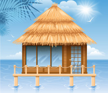 ��������� �������, ������, �����, �������, ����, birds, sun, ������, 3d, sea, gazebo
