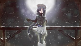 Картинки девушек зимой ночью