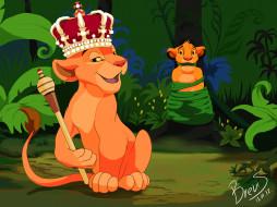 рисованное, животные, лес, шест, корона, львы