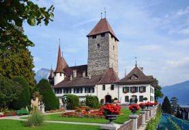 castle spiez   швейцария, города, замки швейцарии, трава, клумбы, замок, швейцария, spiez, castle