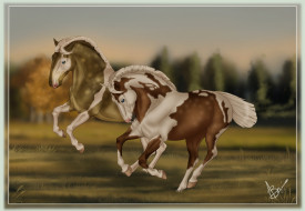 обои для рабочего стола 2092x1449 рисованное, животные,  лошади, лошади, бег