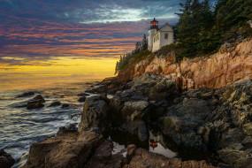 обои для рабочего стола 2048x1367 природа, маяки, тучи, океан, маяк, скалы