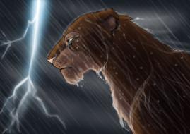 рисованное, животные, молния