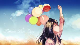 обои для рабочего стола 5726x3221 аниме, idolm@ster, воздушные, облака, шары, небо, шатенка, арт, девушка, artist, tagme