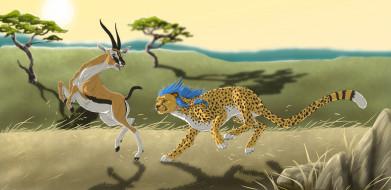 рисованное, животные, савана, антилопа, леопард