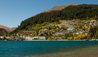 города, квинстаун , новая зеландия, lake, new, zealand, queenstown, wakatipu