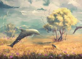 рисованное, животные, фантазия, дельфины, дерево, цветы, поле