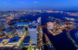 иокогама Япония, города, йокогама , Япония, огни, ночь, дома, река, небоскребы, мегаполис, иокогама