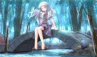 обои для рабочего стола 2136x1254 аниме, unknown,  другое, река, лес, сидит, девушка, мост, листья, деревья, вода, лягушка, арт, risutaru