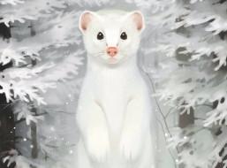 gaudibuendia, рисованное, животные, зверёк, лес, зима, взгляд