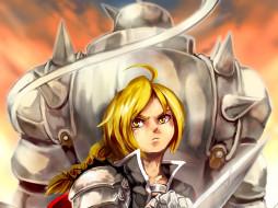 аниме, fullmetal alchemist, взгляд, лезвие, блондин, парень, арт