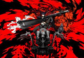 аниме, black rock shooter, оружие, фон, красный, мотоцикл, девушка, арт, arsenixc, kuroi, mato, black, rock, shooter