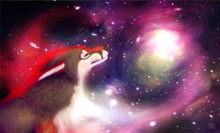 рисованное, животные, собака, галактика