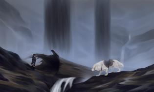 рисованное, животные, мальчик, собака, водопад