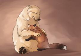 рисованное, животные, медведь, лиса