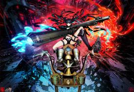 аниме, black rock shooter, мотоцикл, огонь, пламя, девушка, арт, arsenixc, оружие