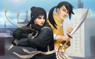 фэнтези, люди, парень, девушка, меч, ножи, ниндзя