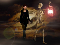 скелет, фон, взгляд, девушка, фонарь