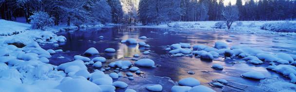 природа, реки, озера, река, камни, снег