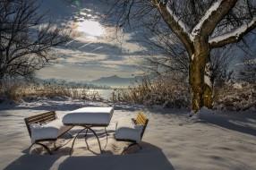 обои для рабочего стола 2048x1365 природа, зима, дерево, лавочки, снег