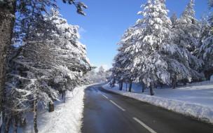 обои для рабочего стола 1920x1200 природа, дороги, снег, деревья