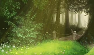 обои для рабочего стола 5961x3508 рисованное, природа, река, лес, мостик, деревья