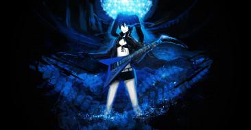 аниме, black rock shooter, брюнетка, девушка, arsenixc, kuroi, mato, black, rock, shooter, гитара, улыбка