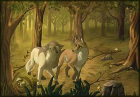 рисованное, животные, лес, лиса, волк