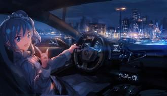 обои для рабочего стола 1920x1112 аниме, город,  улицы,  здания, руль, машина, девушка, lm7, свет, kiriya, aoi, aikatsu, фонарь, огни, трасса, ночь, приборная, панель, техника