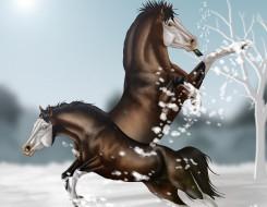обои для рабочего стола 3140x2436 рисованное, животные,  лошади, снег, лошади