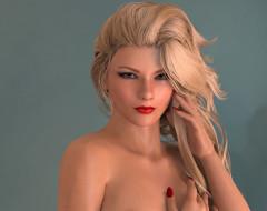 3д графика, портрет , portraits, взгляд, девушка, блондинка, фон