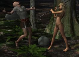 3д графика, амазонки , amazon, взгляд, девушка, мужчина, лес, копье, фон