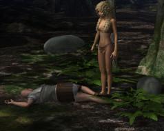 3д графика, амазонки , amazon, взгляд, фон, девушка, мужчина, лес, копье