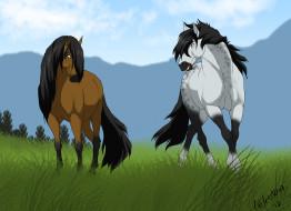 обои для рабочего стола 2338x1700 рисованное, животные,  лошади, лошади, взгляд, гривы, трава